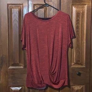 Women's burgundy short sleeve top